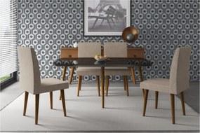 Conjunto De Jantar Jade Black Com 4 Cadeiras Jade Pena Caramelo Pés Palito – RV Móveis