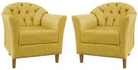 Conjunto 2 Poltronas Opala Capitonê Decorativa Suede Amarelo