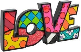 Palavra Decorativa Love - Romero Britto - em Resina - 19x9 cm