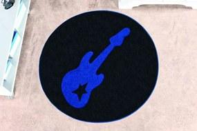 Tapete Guga Tapetes De Pelúcia Guitarra Azul Royal
