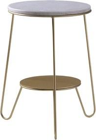 Mesa de Apoio Itália 40 cm Aço Bronze /Mármore Branco - Gran Belo