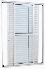 Porta Balcão de Alumínio de Correr Alumifort Branca 3 Folhas Móveis 216x120x13 - Sasazaki - Sasazaki