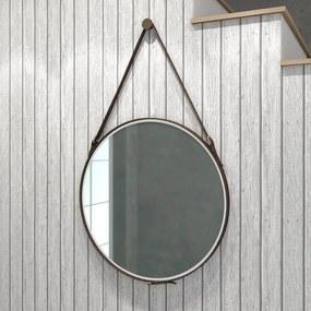 Espelho Redondo 58cm Alça Decoração Escandinavo Branco