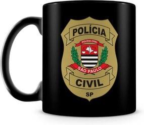 Caneca Personalizada Polícia Civil de São Paulo 100% Preta (Com Nome)