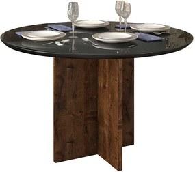 Mesa de Jantar Aura Tampo Redondo para 4 Cadeiras 103cm Rústico Malbec Preto