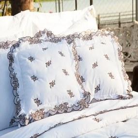 Almofada Decorativa Bordada 200 fios Mondrean Branco Vilela Enxovais 2 peças