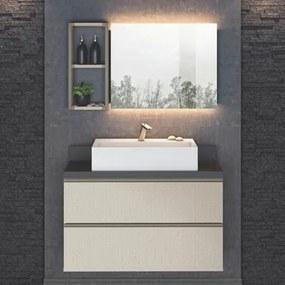 Kit Banheiro Gabinete Suspenso e Nicho Smart Tweed - Belaflex