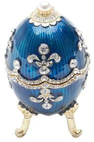 Porta Jóias Zamac Ovo Fabergé Royal Azul 5x5x9cm 25655 Prestige