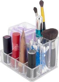 Organizador Porta Maquiagem Cotonete Acrílico - 07 Divisões