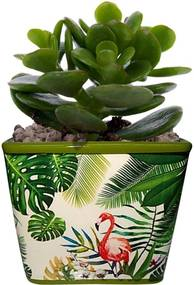 Cachepot Urban Home de Cerâmica Verde Quadrado Green Leaves 40391 n
