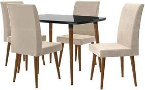 Conjunto Mesa Para Sala De Jantar Retrô 120 X 90 Com 4 Cadeiras Jade Rv Móveis - Preto/bege