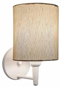 Arandela Cilíndrica Md-2009 Base Branca Cúpula em Tecido 14x15cm Linho Bege - Bivolt