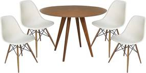 Conjunto Mesa Square Redonda Louro Freijó 80cm + 4 Cadeiras Eiffel Branca