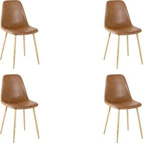Kit 4 Cadeiras Decorativas Sala e Escritorio Base Clara Emotion PU Marrom - Gran Belo