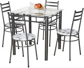 Jogo de Mesa e 4 Cadeiras Tulipa Craqueado/Branco Floral - Marcheli