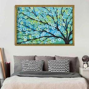 Quadro Love Decor Com Moldura Árvore Painted Dourado  Médio