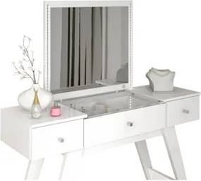 Penteadeira Camarim Even com Espelho e 03 Gavetas Branco - Móveis Estrela