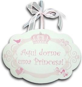 Plaquinha Móbile Aqui Dorme uma Princesa - 29x20 cm
