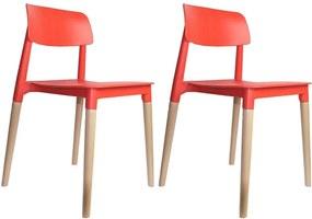 kit 2 Cadeiras Decorativas Sala e Cozinha (PP) Viper Vermelha - Gran Belo