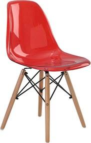 Cadeira Eif.S/Br Pc Vermelho Translucido Base Madeira Rivatti Móveis
