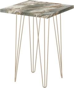 Mesa Lateral Quadrada Petra 60 cm Pés de Ferro Dourado  D'Rossi Cinza