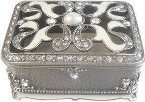 porta joias   LUXUOSA 7 cm  prata e cristal  Ilunato TI0096