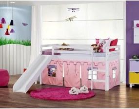 Cama Infantil com Escorregador e Tenda Castelo Rosa - Laca Branco Casatema