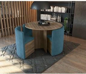 Conjunto Mesa Nirá Com 4 Cadeiras Nogal Kappesberg Azul