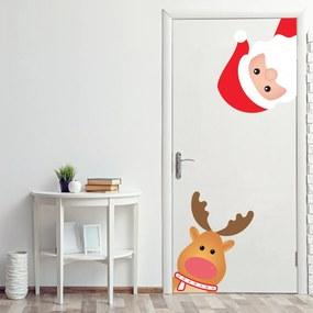 Adesivo de Porta Decoração Natal Papai Noel e Rena