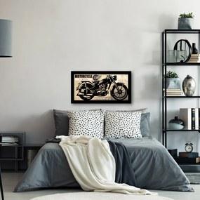 Quadro Alto Relevo Motocicleta Frase Bege40x75cm