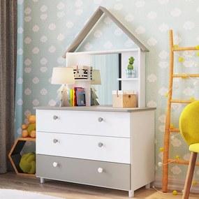 Cômoda Infantil Com 3 Gavetas E Espelho Children's House