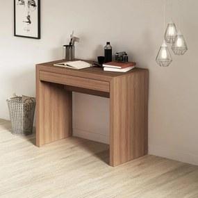 Escrivaninha Mesa Escritório Home Office 1 Gaveta Amêndoa