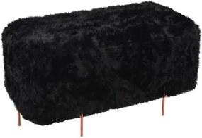 Puff Beagle Retangular Pele Preta Base Cobre 48cm - 60123 Sun House