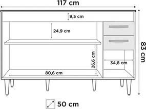 Armário Aéreo Honduras e Balcão Gabinete Suécia com Pia Inox 120cm Branco/Carvalho/Castanho - Lumil Móveis