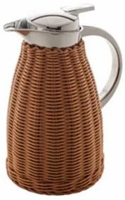 Garrafa Térmica Inox Com Rattan Plástico Marrom 1,5 Litros 28793 Bon Gourmet
