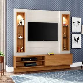 Estante Home Theater para TV TB128L com Led Off White/Freijó - Dalla Costa