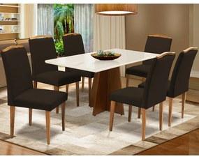 Conjunto Mesa Leticia 1,60 m Off White + 6 Cadeiras Keli Veludo Marrom