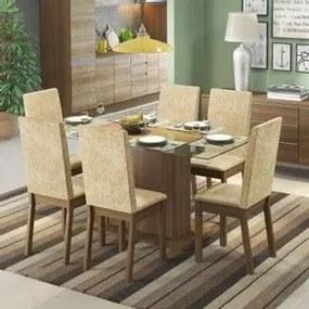 Conjunto Sala de Jantar Valentina Madesa Mesa Tampo de Vidro com 6 Cadeiras Rustic/Suede Imperial Cor:Rustic/Suede Imperial