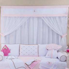 Cortina Quarto de Bebê Princesa Ursa Realeza Rosa