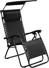 Cadeira Topplin Reclinável C/Tapa Sol em Aço Carbono - Preto
