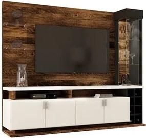 Estante Home Painel para TV até 55 Pol. Vivace Canela/Branco/Preto - Colibri