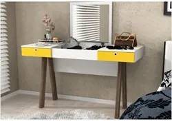 Penteadeira com Espelho e 02 Gavetas PE2002 Branco com Amarelo e Noce