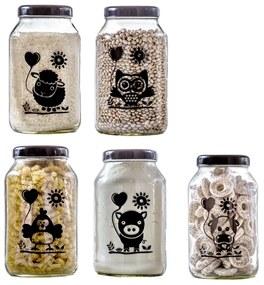 Conjunto de 5 Potes Vidro 3L (Ovelhinha/Corujinha/Galinha/Porquinho/Vaquinha) - Fazendinha