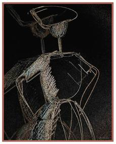 Quadro Decorativo Figurativo Mulher em Movimento Com a Mão na Cintura Preto e Dourado - CZ 44119