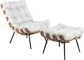 Poltrona e Puff Decorativos Sala de Estar Costela Couro Branco - Gran Belo