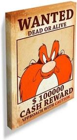 Tela Looney Tunes Yosemite Wanted Multicolorido em Madeira - 70x50 cm