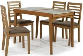 Conjunto Navagio Mesa Elastica Tampo Vidro Branco 4 Cadeiras Ripada Estofado Marrom - 59608 Sun House