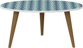 Mesa Oval Branco/Estampa Azul Be Mobiliário