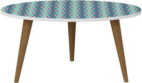 Mesa Oval Branco / Estampa Azul Bentec