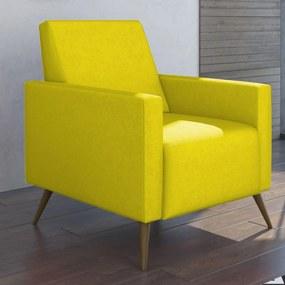 Poltrona Decorativa Lyam Decor Liz Suede Amarelo